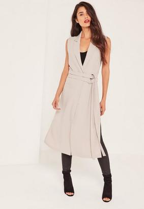 Grey Double Belt Sleeveless Duster Coat $66 thestylecure.com