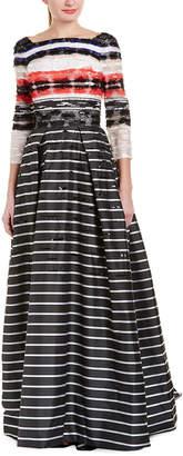 Carolina Herrera Silk-Trim Gown