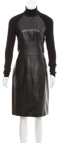 Christian Dior Wool-Trimmed Leather Dress