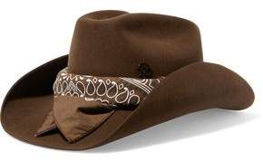 Maison Michel Lucky Printed Cotton-Trimmed Rabbit-Felt Fedora