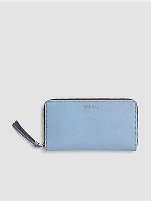 Calvin Klein Calvin Klein Womens Faux Leather Large Zip Wallet Cashmere Blue
