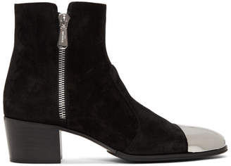 Balmain Black Suede Karen Ankle Boots