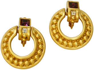 One Kings Lane Vintage Givenchy Crystal & Amethyst Earrings - Wisteria Antiques Etca