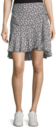 A.L.C. Farrow Mini-Floral Silk Flounce Skirt