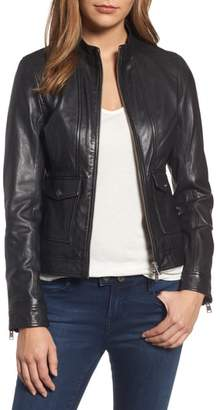 LAMARQUE Patch Pocket Leather Biker Jacket