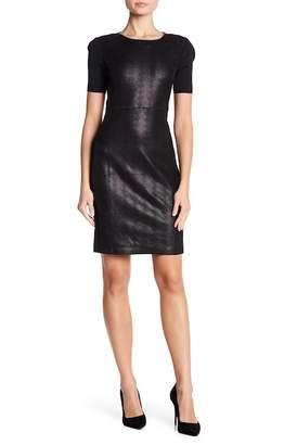 Elie Tahari Emily Short Sleeve Lamb Leather Dress