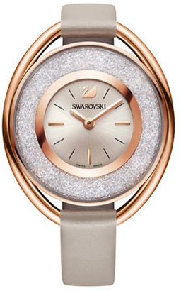 Swarovski Crystalline Pave and Stainless Steel Leather-Strap Watch $379 thestylecure.com