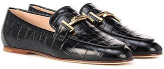 Tod's Croc-embossed leather loafers