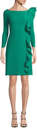 Chiara Boni Hea Asymmetric-Ruffle Boat-Neck 3/4-Sleeve A-Line Cocktail Dress