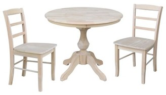 """INC International Concepts 36"""" Round Top Pedestal Dining Table with 2 Madrid Chairs - Unfinished - 3 Piece Set"""