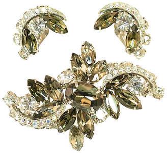 One Kings Lane Vintage Weiss Black Diamond Crystal Brooch Suite