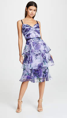 Marchesa Floral Organza Tiered Gown