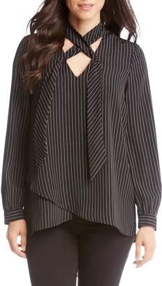 Karen Kane Stripe Tie Neck Crossover Top