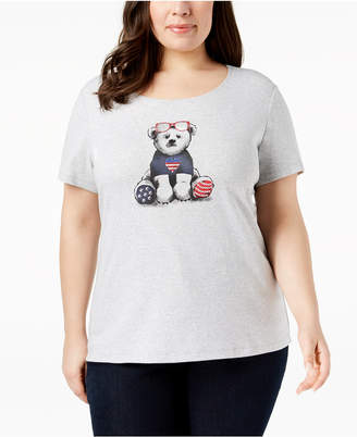 Karen Scott Plus Size Cotton Graphic T-Shirt, Created for Macy's