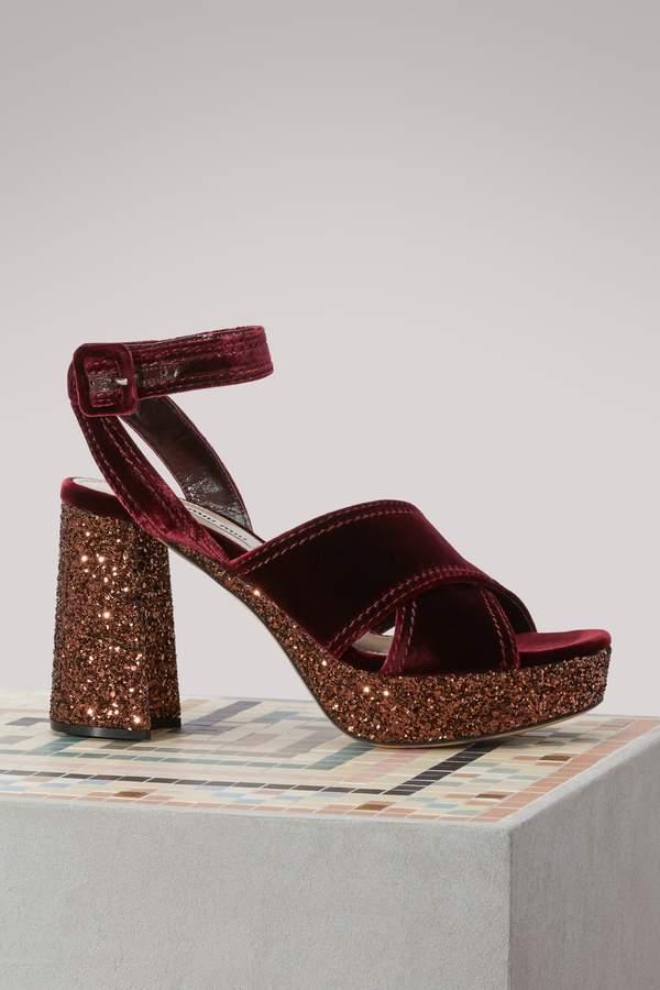 Miu Miu Velvet glitter high heels sandals