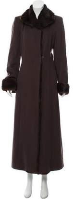 Les Copains Fur-Trimmed Long Coat