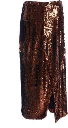 Sally LaPointe Asymmetric Sequined Stretch-Chiffon Pencil Skirt