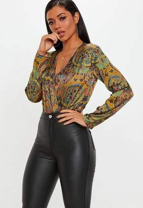 Missguided Yellow Paisley Print Wrap Front Bodysuit