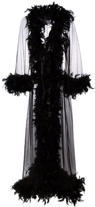 Folies By Renaud feather trim sheer robe