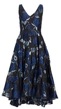 Lela Rose Women's Resort Jacquard Fit-And-Flare Dress - Navy Black - Size 6