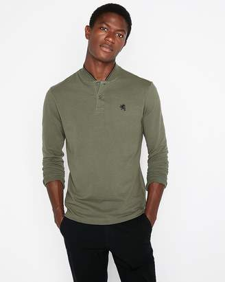 Express Stretch Small Lion Tipped Collar Long Sleeve Henley