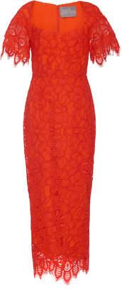 Lela Rose Open Neck Flutter Sleeve Sheath Dress