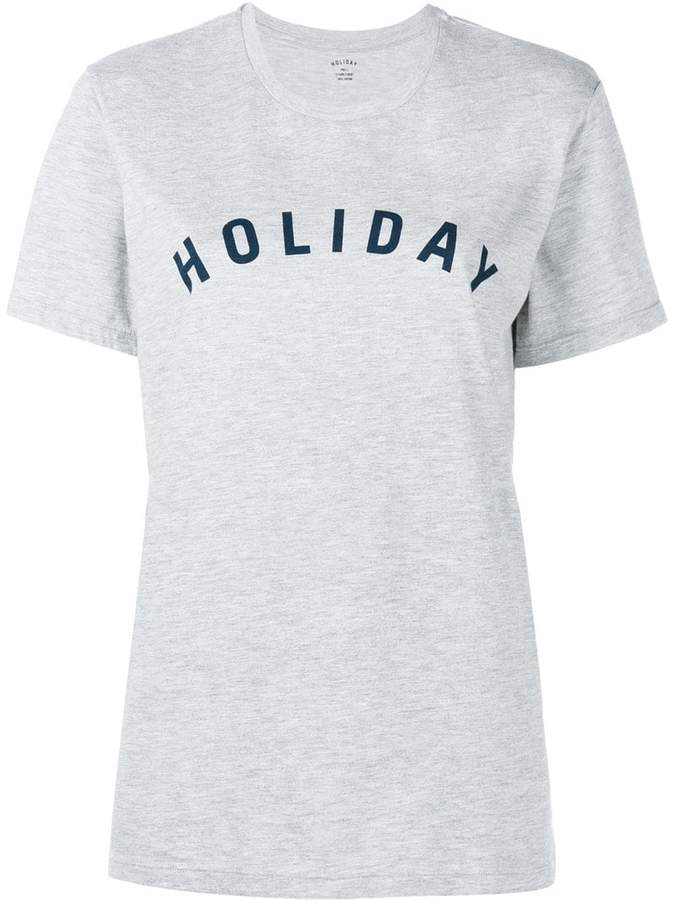 Holiday Grey Logo Print Cotton T Shirt