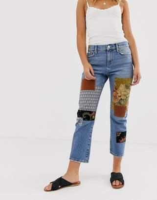 Free People Poppy patchwork boyfriend jeans