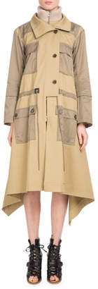 Chloé Zip-Front Mid-Calf Parka Coat w/ Nylon Patch Pockets
