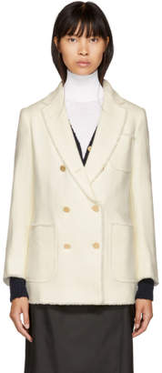 Thom Browne White Double-Breasted Sack Blazer