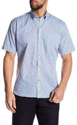 Thomas Dean Short Sleeve Regular Fit Woven Print Shirt