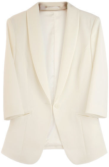 3/4 Length Sleeves White Blazers with Single Buttons