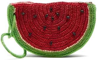 SENSI STUDIO Watermelon toquilla-straw clutch