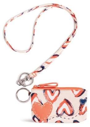 Vera Bradley Hearts Pink Zip-Id/lanyard
