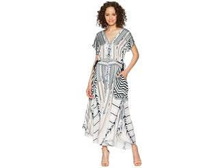 Hale Bob Travel Bright Rayon Stretch Satin Woven Maxi Women's Dress