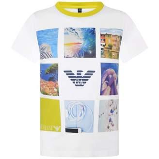 Armani Junior Armani JuniorBoys White Leisure Print Top