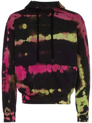 Stain Shade pink and green tie dye cotton hoodie