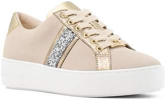 MICHAEL Michael Kors Women's Poppy Suede Glitter Stripe Lace Up Sneakers
