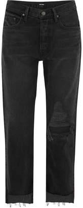 GRLFRND Helena Distressed High-rise Straight-leg Jeans - Charcoal
