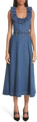 Co Ruffle Neck Belted Denim Dress
