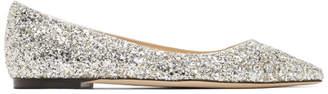 Jimmy Choo Silver Glitter Romy Flats