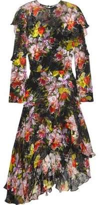 Preen by Thornton Bregazzi Cassidy Asymmetric Printed Devoré Silk-Chiffon Dress