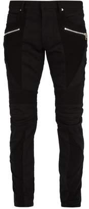 Balmain Mid Rise Biker Jeans - Mens - Black