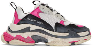 Pink and White Nubuck Resile Mousse Triple S Sneakers