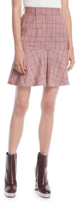 Calvin Klein High-Waist Plaid Flared Wool Skirt