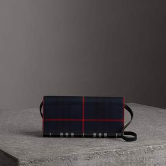 Burberry Tartan Cotton and Leather Wallet with Chain, Blue