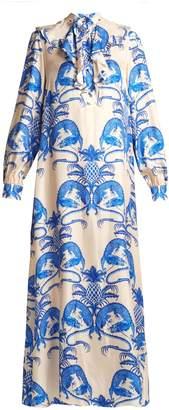 Gucci Dragon-print ruffle-trim silk-twill dress