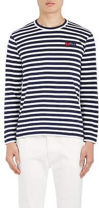 Comme des Garcons Men's Heart-Patch Striped Cotton T-Shirt - Navy
