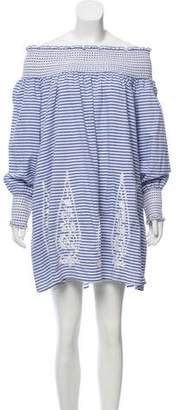 Juliet Dunn Off-The-Shoulder Striped Dress w/ Tags