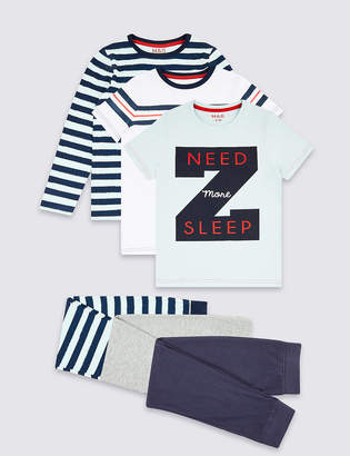 Marks and Spencer 3 Pack Cotton Rich Pyjamas (3-16 years)